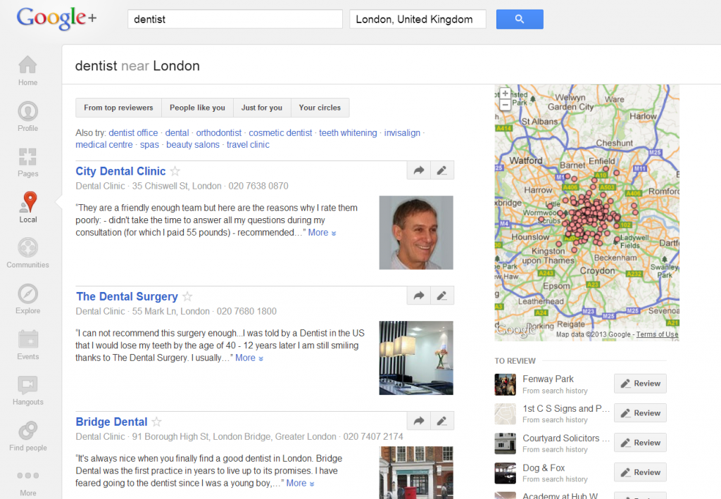 local search via google+ local