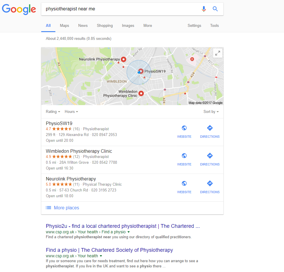 Image showing local search results on Google