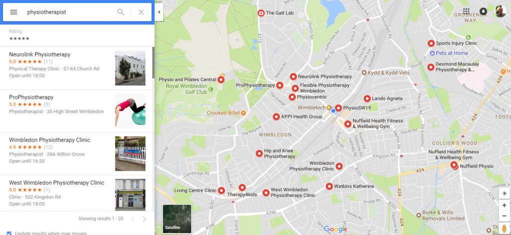 Image showing local search results on Google Maps