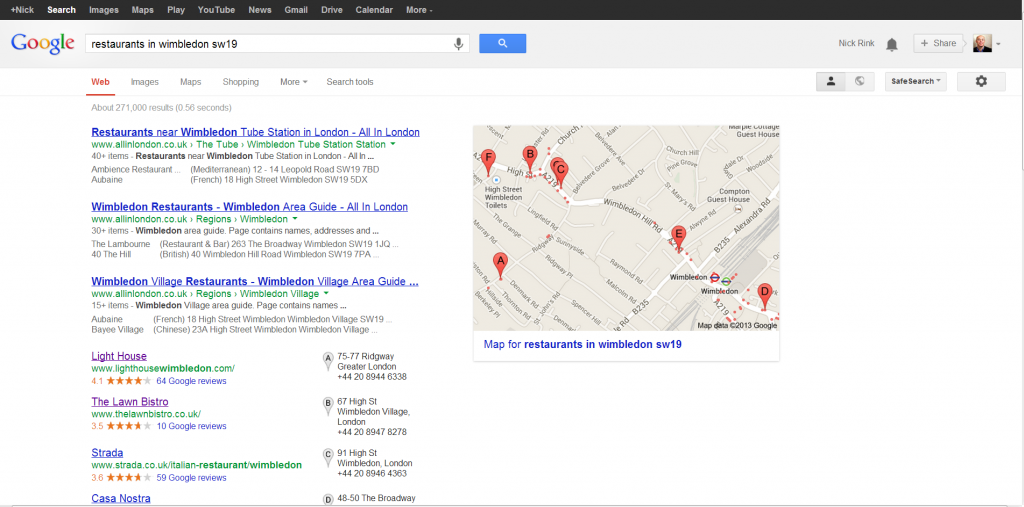 Google local reviews popup
