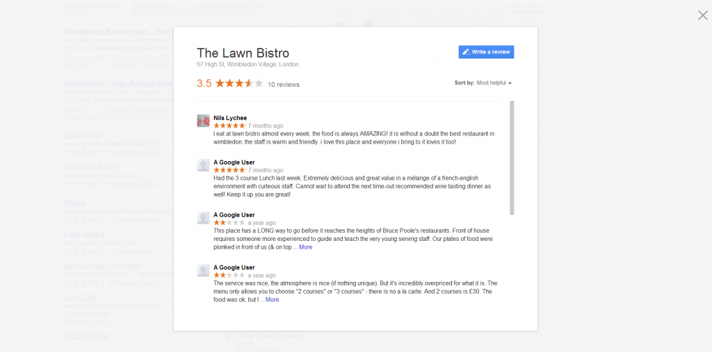 Local business reviews popup