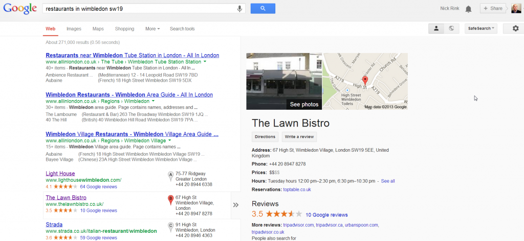 Google local results popup