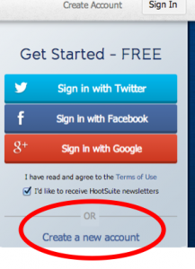 create account on hootsuite