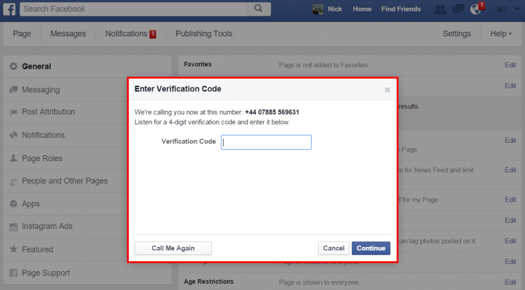 Facebook - enter verification PIN