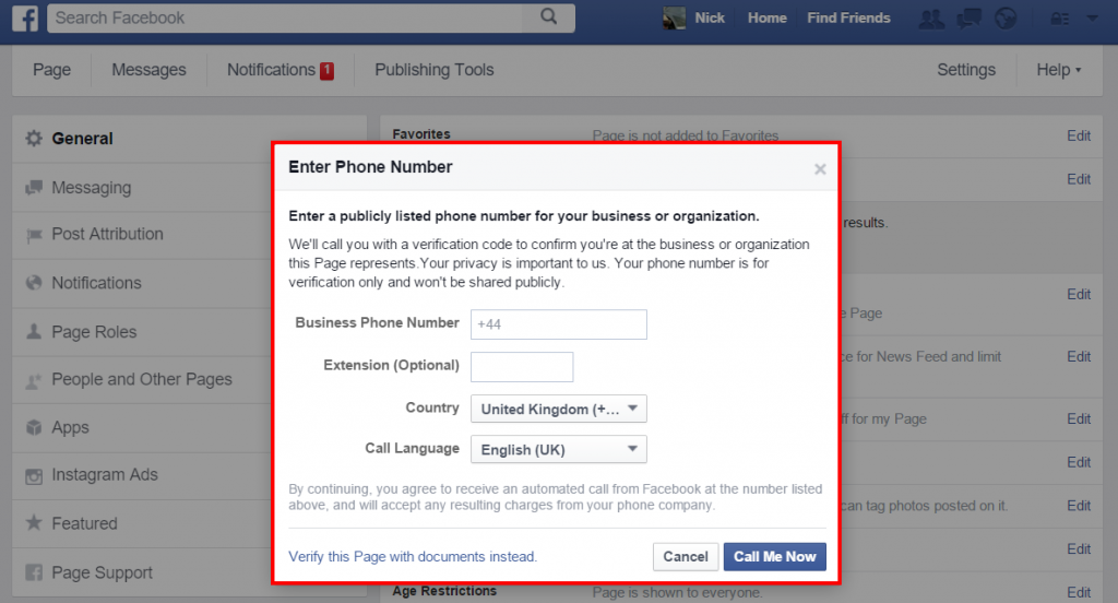 Facebook - enter verification details